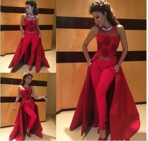 b52595e7df Appliques Myriam Fares Dresses 2016 Illusion Neckline Slim Fit Fashion Women  Prom Dresses Without Pants Custom Made No Trousers