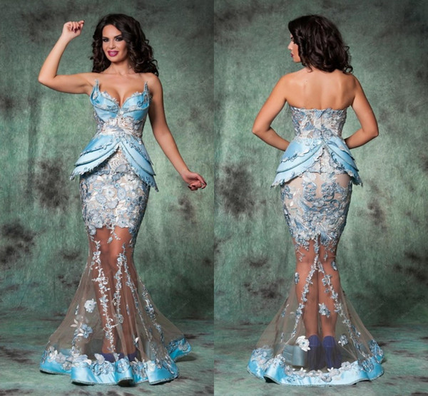 best selling Plus Size Mermaid Lace Tulle Evening Prom Dresses Sweetheart Floor Length Arabic Romania Evening Gowns Sheer Sexy Hot Party Dresses