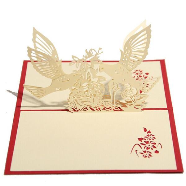 3D Düğün Kuşlar ve Ağaç Tebrik Kartları El Yapımı Kağıt Heykel Yaratıcı Romantik Hediye sevgililer Günü Düğün Davetiyeleri Ücretsiz kargo