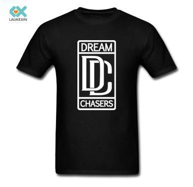 Atacado-Men T-shirt Dream Chasers T de Alta Qualidade DIY Causal Roupas 100% Algodão O-pescoço de Manga Curta Gráfico Plus Size Camisas Dos Homens T