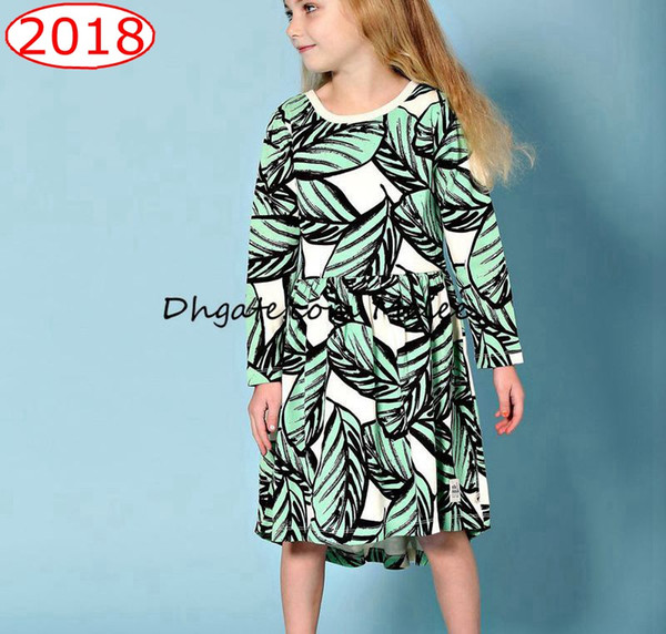 top popular ins girls green leaf full print cotton leaves print dresses baby long sleeved dress 1-6years free ship 2020
