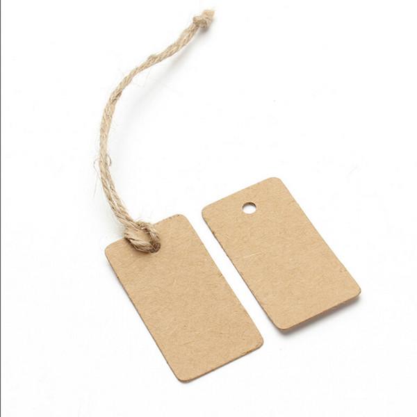 Brown Kraft Paper Tags Rectangular Label Luggage Wedding Note DIY Blank price Hang tag Kraft Gift