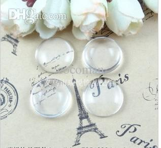 Wholesale-A1903 Free Shipping!100pcs/lot 25mm Good Quality Domed Round Transparent Clear Glass Cabochons Cameo settings Glass Cover
