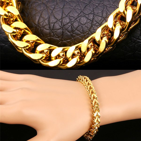 top popular U7 Big Chunky Chain Bracelet 18K Gold Platinum Plated New Trendy Gift Hot Sale Men Jewelry Summer Style Perfect Punk Accessories 2019