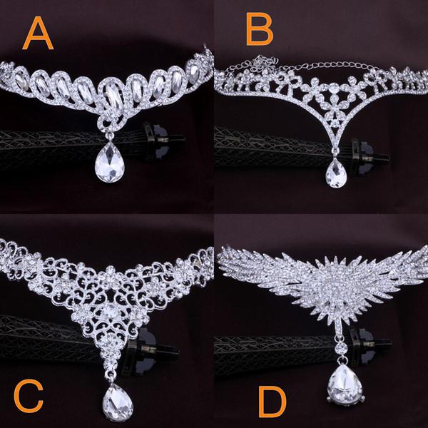 Cheap Bridal hair accessories wedding fashion for women of Metal beaded pearl chain head hair jewelry Indian women bridal ornaments crown