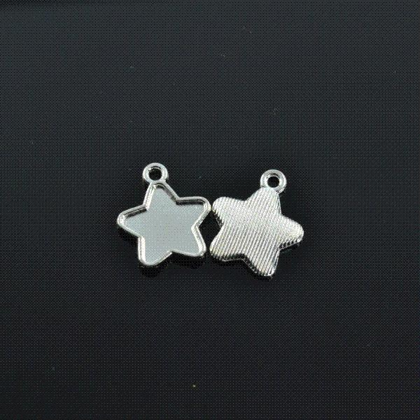 Wholesale 100pcs/lots 18*15mm Vintage metal bright silver tone floating star charms pendants diy jewelry making Z422901