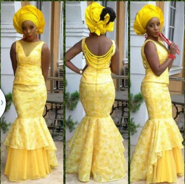 2019 Bellanaija Mermaid Style Evening Dresses Women bellanaija asoebi Fabrics Prom Dress Lace Styles Dresses Evening Party Clothing