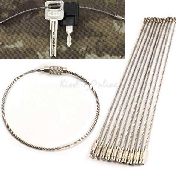 top popular Fashion Hot Stainless Steel Wire Keychain Cable Key Ring for Outdoor Hiking 2021