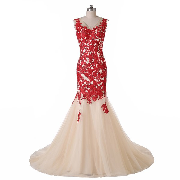 Mermaid Gowns Red Embroidery Tulle Wedding Dresses W1490 Transparent Vintage Backless Real Photo Fashionable Top Selling Best