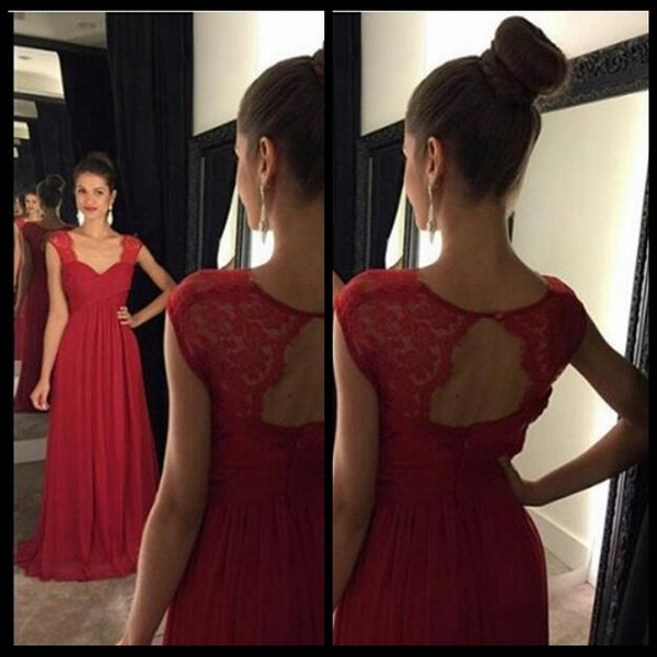 Simple Design A Line Evening Dresses 2016 Charming Sweetheart Cap Short Sleeve Chiffon Long Red Lace Open Back Evening Dress For Women Dress