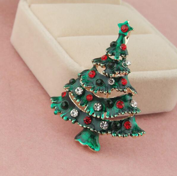 Fashion Xmas Gifts Rhinestone Green Enamel Christmas Tree Brooch Pin Gold Tone Brooches Jewelry Wholesale 12Pcs