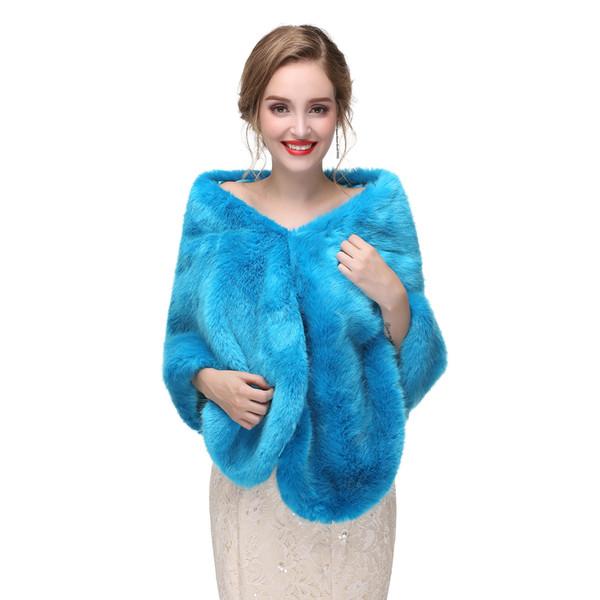 High Quality Blue Faux Fur Bridal Wraps Wedding Dress Fur Boleros Winter Bridal Jacket 2017 New Arrival Real