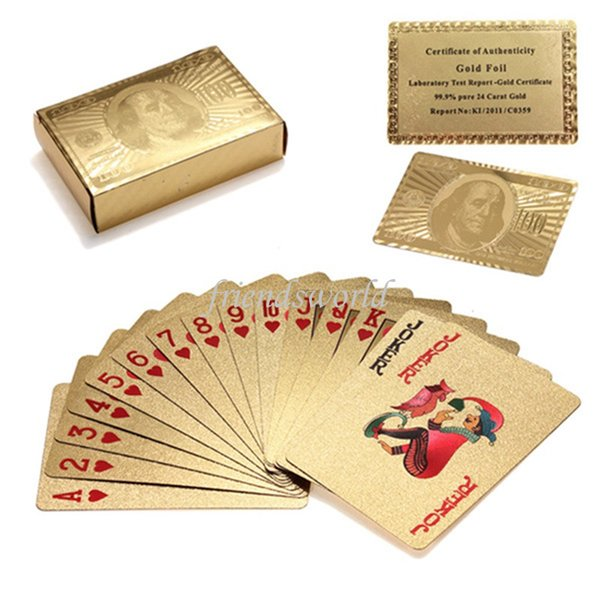 Free Shipping 100sets/lot Gold foil plated playing cards Plastic Poker US dollar / Euro Style and General style With Certificate