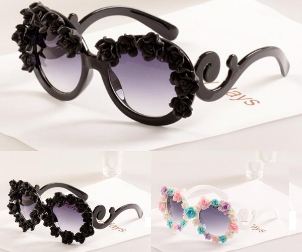 Adult Big Kids Flower Sunglasses Fashion Design Baroque Style Children Beach Sunblock Accessories Blinkers Party Focus Free Shipping