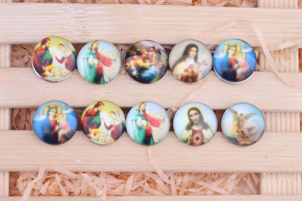 JACK88 Hot Sale 30 pcs/lot Mix Styles DIY 18mm About Jesus Ginger Glass Snap Buttons Fit Snap Button Bracelet M614