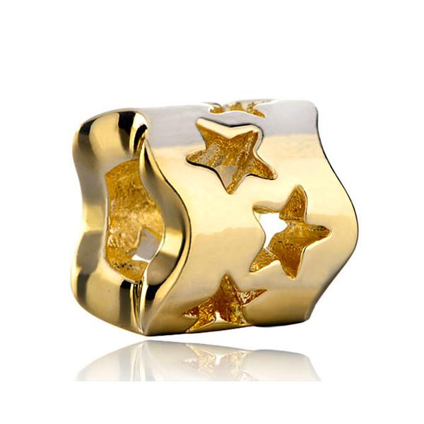 10 pcs per lot gold plated star bead European spacer charm fit Pandora Chamilia Biagi charm bracelet
