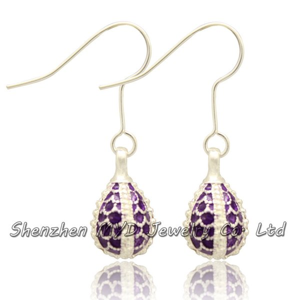 Handmade stylish women fashion jewelry Faberge style silver plated mini Easter egg hanging earrings color enameled high quality