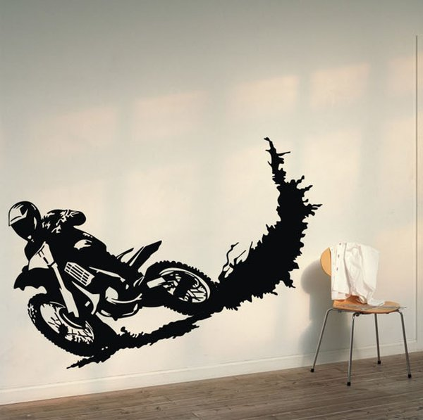 New Motorcycle Racer Dirt wall stickers motor Bike Sport Vinyl Art Decal Removable Wall Sticker Home Decor Decal