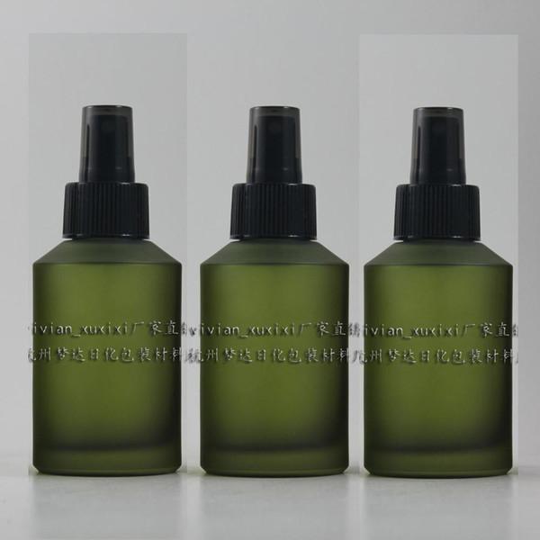 Botella de perfume recargable del recorrido del vidrio esmerilado verde oliva 125ml con el atomizador / el rociador plásticos negros, envase del perfume