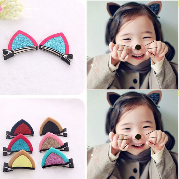 Cute cat rabbit ears hair clips for children girls 6 colors fabric hair accessories 3.5*5cm clips hair jewelry