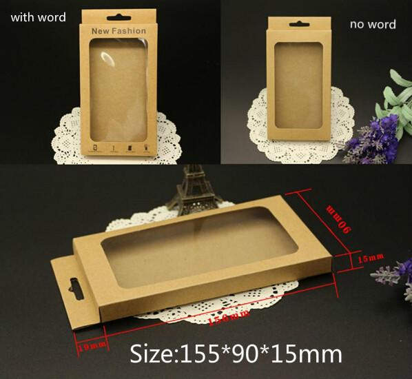 300pcs Universal Phone Case Package Paper Kraft Brown Retail Packaging Box for iphone 4 5 6 Samsung S4 S5 Note 2 3 4 Cell phone