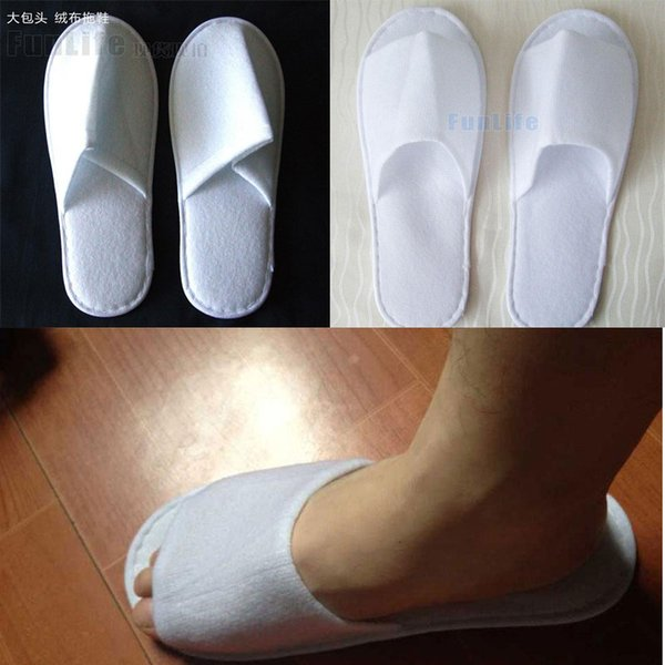 top popular 30pairs 2 styles can mixed one-time lint slippers disposable shoe home white sandals hotel babouche travel shoes free shipping 2019