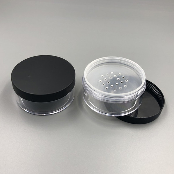 Clear 50g 50ml Plastic Powder Puff Container Case Makeup Cosmetic Jars Face Powder Blusher Storage Box With Sifter Lids