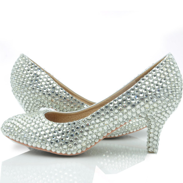 Middle Heel Silver Color Wedding Shoes Glitter Women Comfortable Party Prom Shoes Plus Size 43 In Stock Bridesmaid Shoes Silver Bridesmaid Shoes