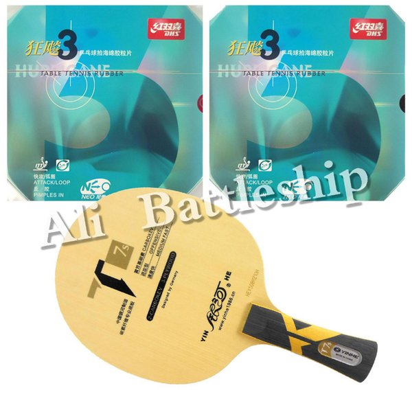 Wholesale- Original Pro Table Tennis PingPong Combo Racket: Galaxy Yinhe T7s Blade with 2x NEO Hurricane 3 Rubbers Long Shakehand FL