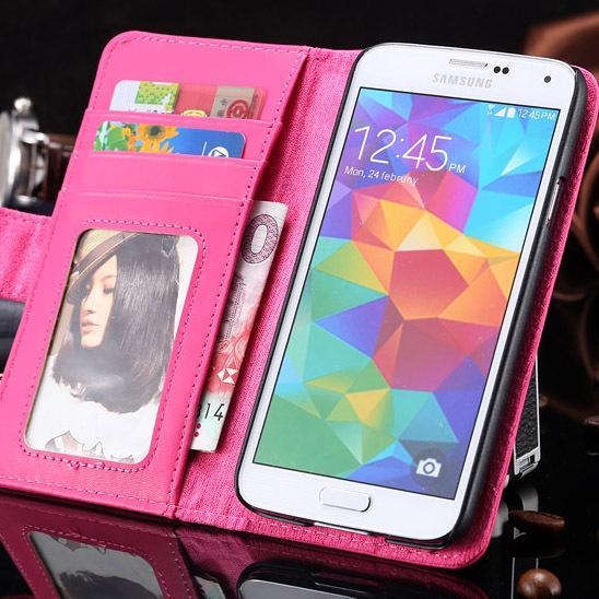 Atacado-luxo estojo de couro para samsung galaxy s5 sv i9600 carteira suporte com suporte de cartão photo frame tampa do celular para galaxy s 5 sv