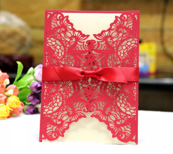 Many Colors Wedding Invitations bridal shower invitation cards with envelope and blank card 200pcs lot wholesales