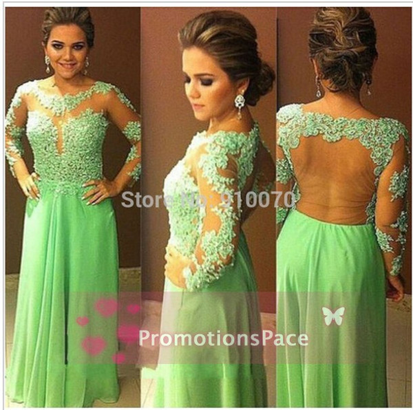 Crew Neck Lace Aline Chiffon Formal Sexy Prom Dresses 2015 Long Sleeves Cheap Fashion Sheer Appliqued Formal Party Evening Bridal New Gowns