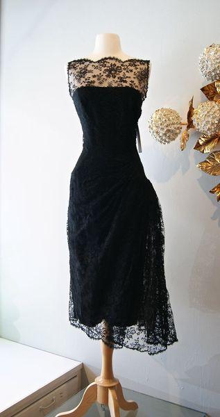 Vintage Cocktailkleider der 1950er Jahre schwarzer Spitze Prom Dress schiere Bateau Hals Tee Länge Abendkleider 2015 New Christmas Party Kleider Real Image