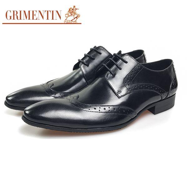 GRIMENTIN Hot sale dress mens formal shoes Italian fashion designer men oxford shoes genuine leather black business wedding male shoes OM