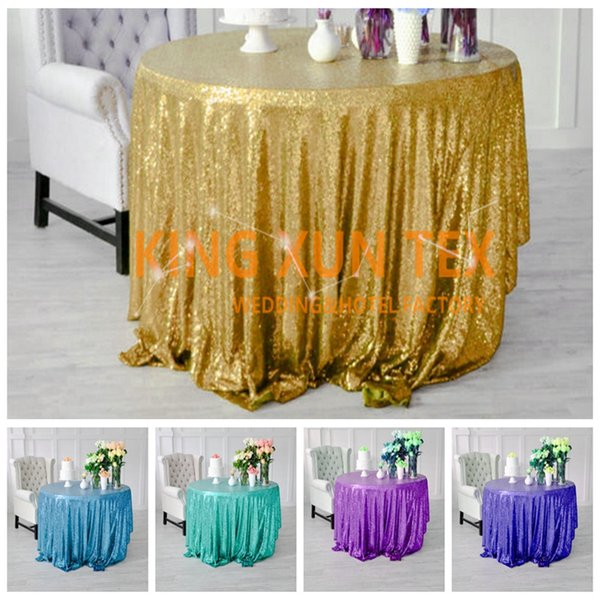 top popular Nice Looking Sequin Table Cloth For Party And Event Decoration \ Cheap Wedding Tablecloth Door to Door Shipping 2020