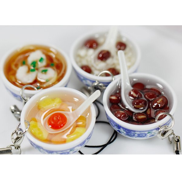 Key Rings Simulation Food Key Chains Noodle Creative Keychain Chinese Blue And White Porcelain Food Bowl Mini Bag Pendant
