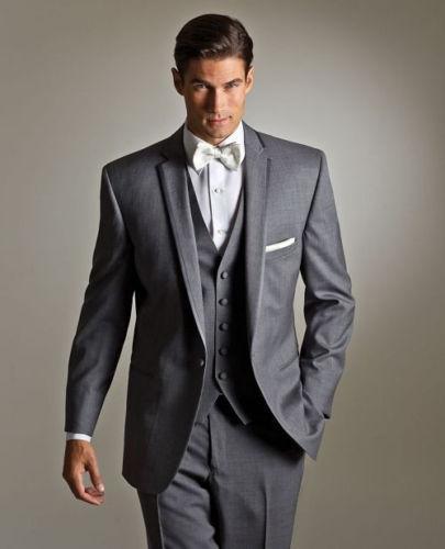 Fashion Lapel Business Men Suits for Wedding Groom Tuxedos Blazers Best Man Bridegroom Wedding Suits Groomsmen Suits (Jacket+Pants+Vest+Tie)