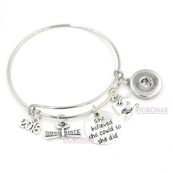 11bf2785f Wholesale Snap Jewelry 2018 Graduation Bracelet Expandable Wire Bangle  Adjustable Snap Button Bracelets for College Graduation
