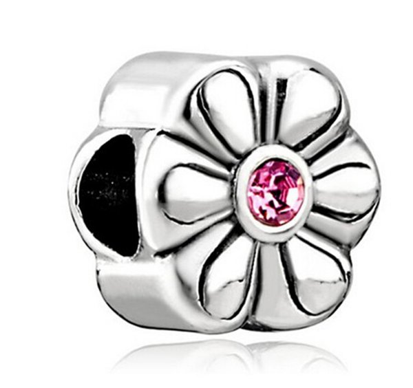 Free Shipping Whosale Rhodium Plating Birthstone Charms Flower Rose October Birthstone Flower Charm For Pandora Bracelet