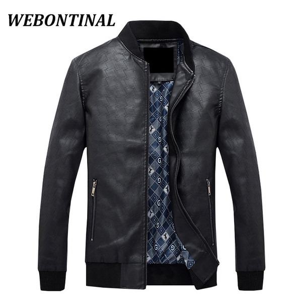 Wholesale- WEBONTINAL 2017 New Autumn Winter Brand Casual Faux Male Leather Jacket Men Coat Zipper Motorcycle Thick Man Outerwear Quality