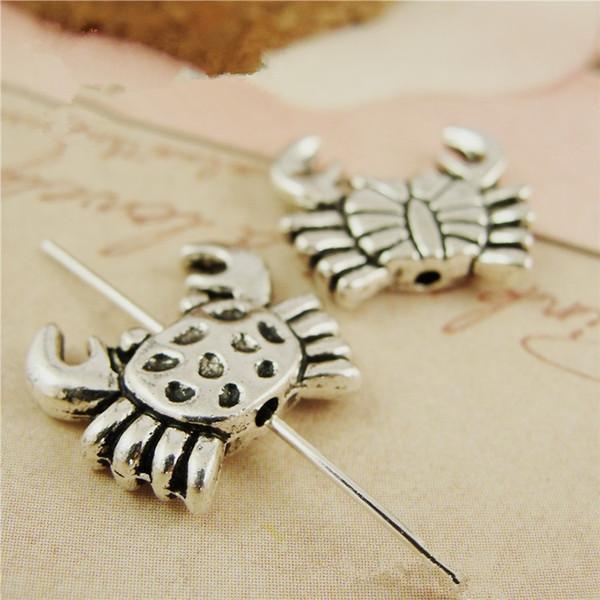 (50 pièces / lot) 13 * 15MM style vintage métal tibétain argent crab connecteur perles de charme bijou bricolage hm1049