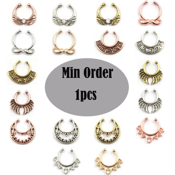 10pcs punk taboo silver and gold small non piercing nose stud acrylic turquoise fake nose piercing septum Free shipping N0034
