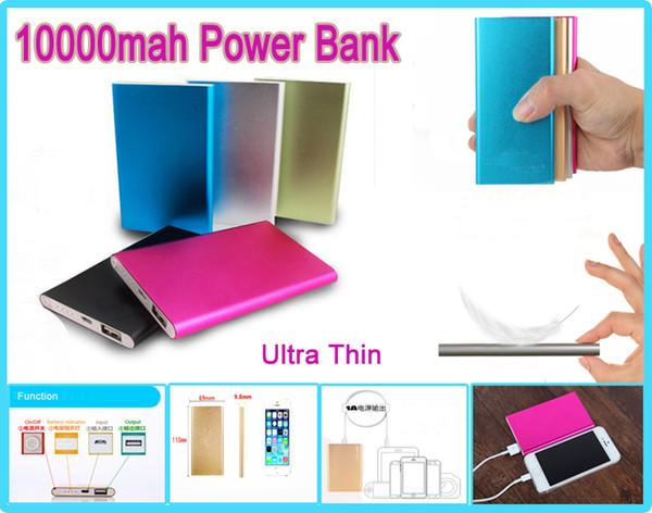 10000 mah güç bankası Yüksek Kalite Evrensel Ultra Ince Güç Bankası 10000 mAh Harici Pil Yedekleme Şarj USB Powerbank