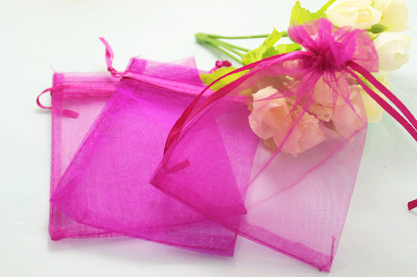 500pcs/lot hot pink Organza Bags 7x9 9x12 10x12 10x15cm Wedding Favour Gift bag Jewellery pouches