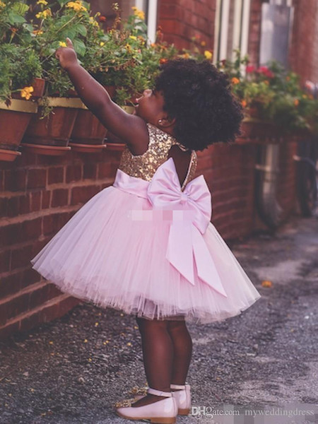 Baby Infant Toddler Birthday Party Pageant Dress Ball Gown Pink Tulle Big Bow Open Back 2018 Cheap Country Beach Wedding Flower Girl Dresses
