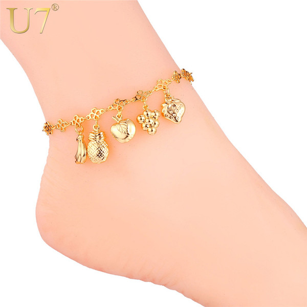 U7 Women Anklet Sweet Different Fruits Free Shipping 18K Real Gold/Platinum Plated Foot Bracelet Fashion Cute Jewelry 7-A938