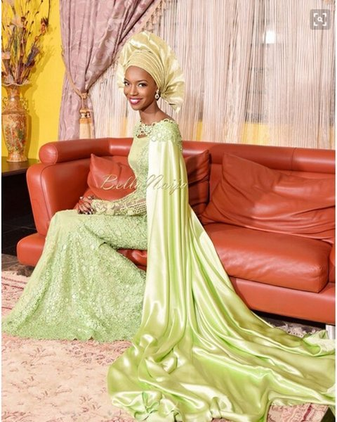 Asi Ebi Light Green lace Sheath Prom Dresses Formal Afric Evening Gowns With Wrap Shawl Satin Long SLeeves Sheer Luxury Party Gowns