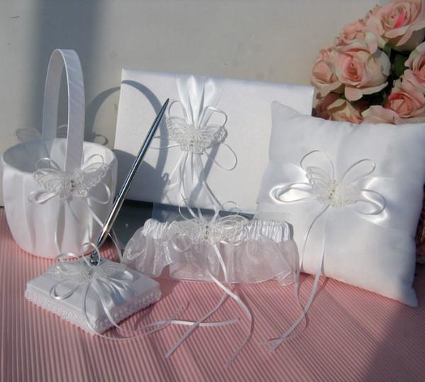 New Arrivals 2016 Ivory Double Heart Diamante Wedding Guest Book,Pen,Ring Pillow,Flower Basket,Garter Set