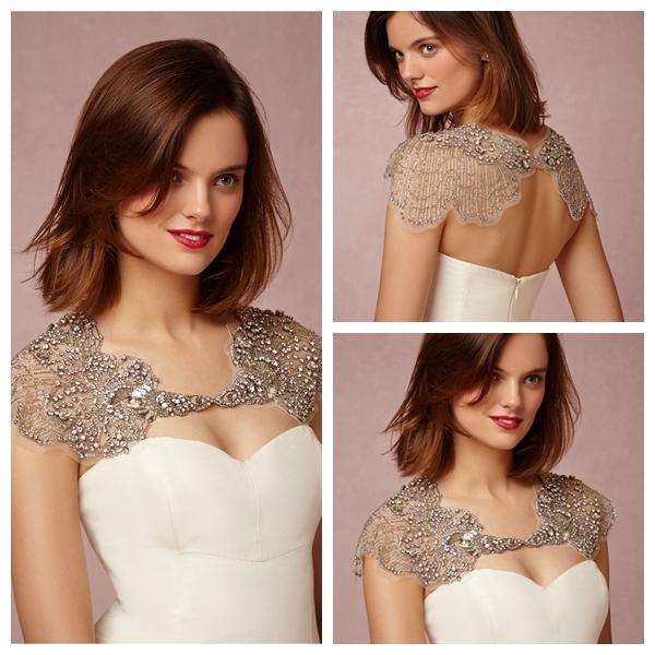Ivory Crystals Bridal Wraps & Jackets Bolero Rhinestone Jackets Wedding Wrap Bateau Neck Illusion Sleeves Custom Made Size Wedding Capes