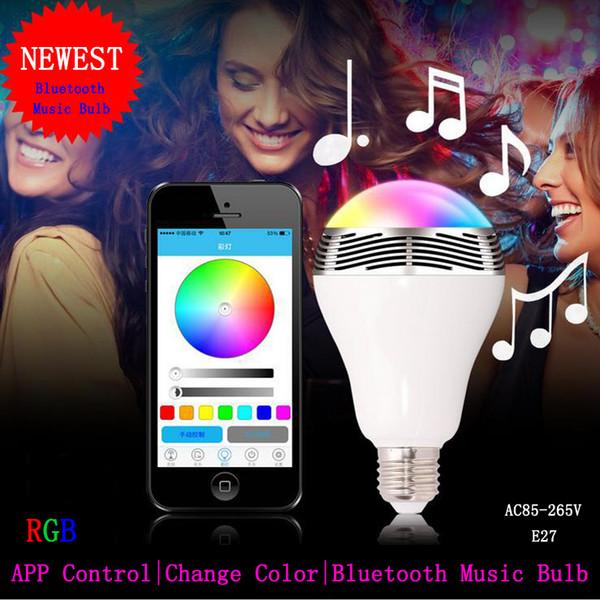 Bluetooth LED Cambio de música Bombillas LED Color multicolor E27 Cambio de altavoz para música Funciona con Iphone 6 / 5s / 4s / Ipad Android
